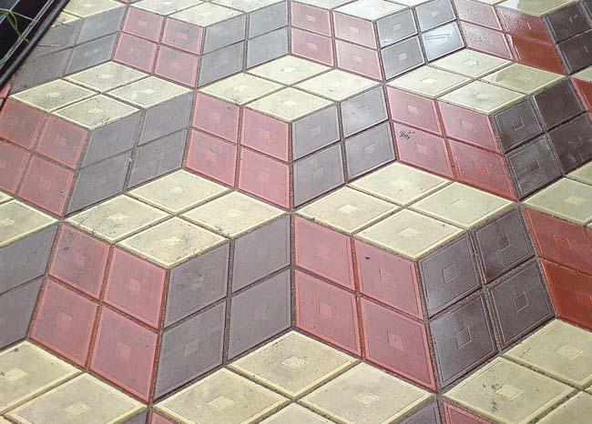 узор уложенной плитки в виде трехмерного изображения