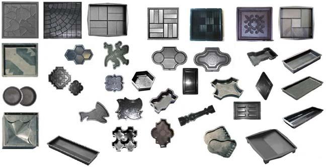 разнообразие формочек для изготовления дорожной плитки