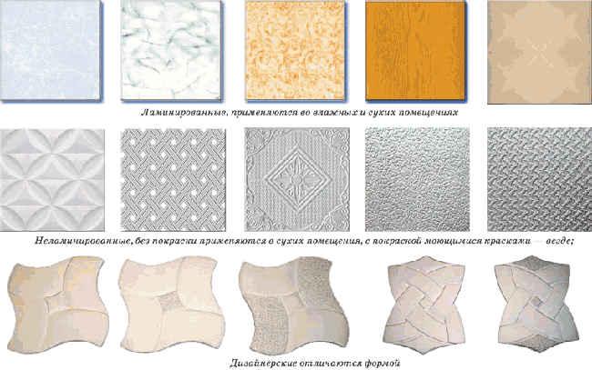 образцы потолочных плиток