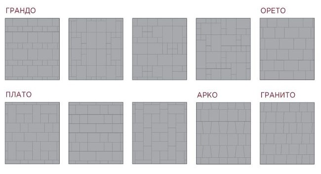 еще варианты укладки плитки различным рисунком