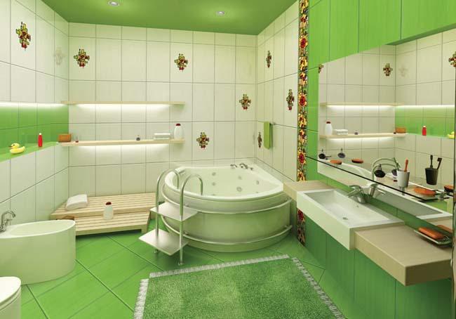 дизайн ванной комнаты в стиле зеленой лагуны