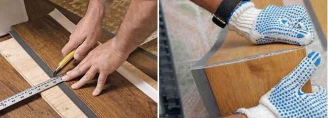 резка плитки строительным ножом по намеченной линии реза