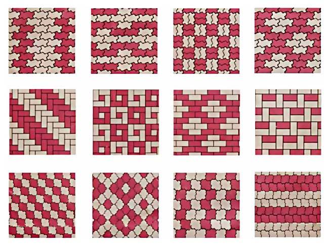примеры различных рисунков, которые можно получить применив разноцветную брусчатку