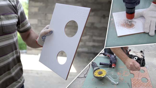 Простой способ сделать отверстие в тонкой плитке керамогранита, применить балеринку
