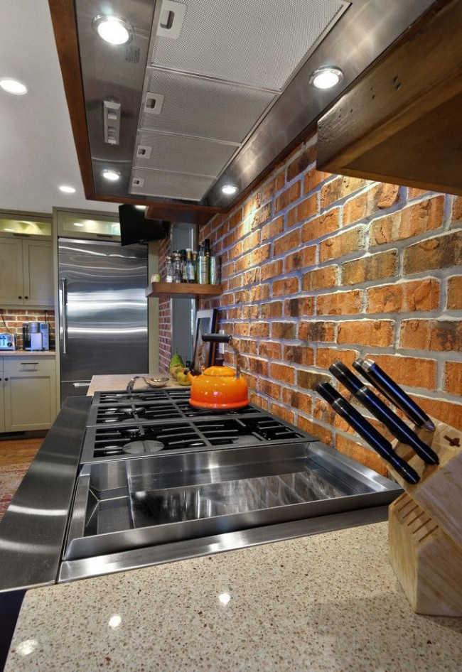 декоративное оформление кухни клинкером под кирпич - оригинальное решение, необычный внешний вид
