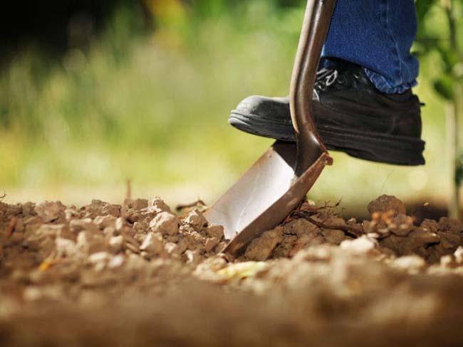 выемка грунта производится обычной лопатой