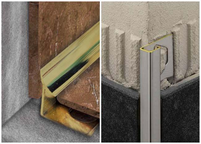 Вставка тримов в углы для улучшения внешнего вида и сокрытия стыка кафельной плитки