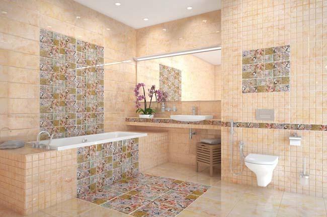 красиво оформленные стены керамической плиткой