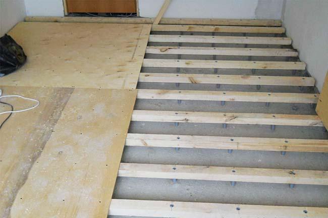 замена бетонной стяжки настилом из фанеры