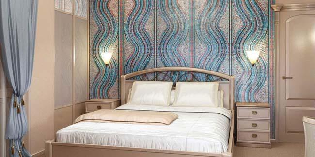 мозаичная кладка в спальне