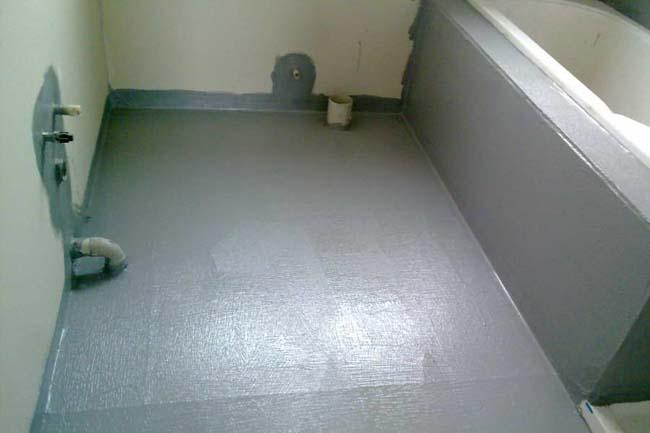 жидкий гидроизол после высыхания на полу