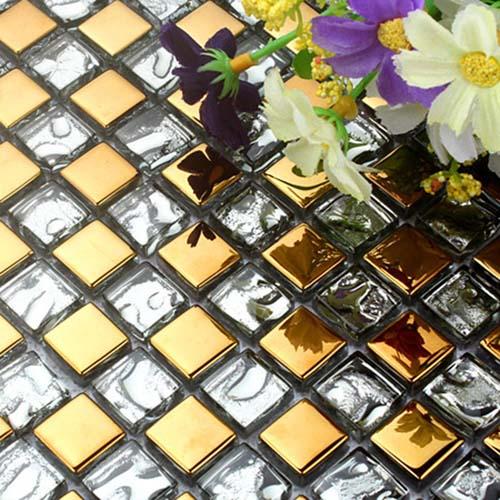 мозаика имитирующая золотые плитки