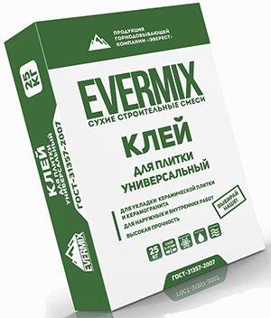 Клей Evermix имеет универсальный состав подходящий для разного вида работ с плиткой