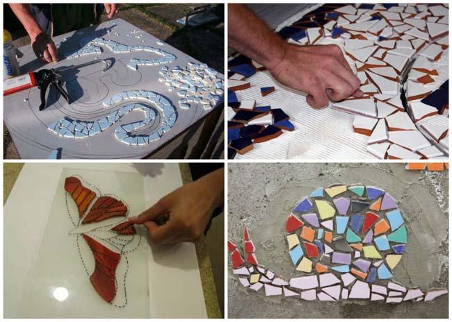 сначала эскиз на бумаге, потом укладка мозаики