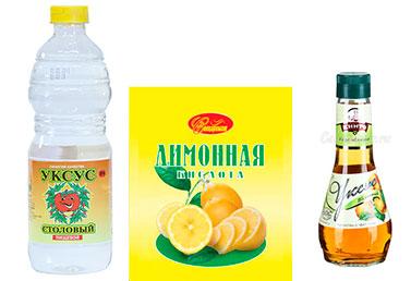 Столовый уксус, яблочный уксус и лимонная кислота