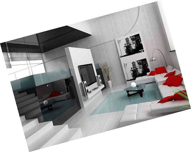 Интерьер в стиле хайтек и лаконично белая плитка на полу и стенах