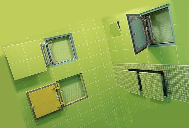 несколько вариантов скрытых люков устанавливаемых в ванной или туалете