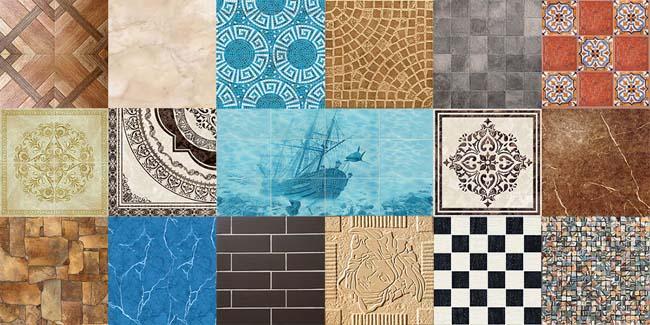 керамические плитки различных расцветок и рисунков
