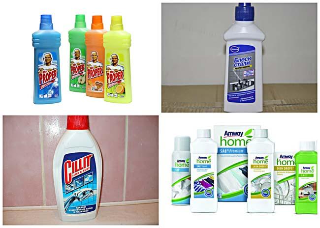 различные варианты бытовой химии для очистки плитки от клея и грязи