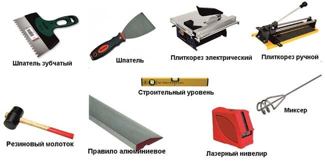 весь инструмент необходимый для укладки фартука
