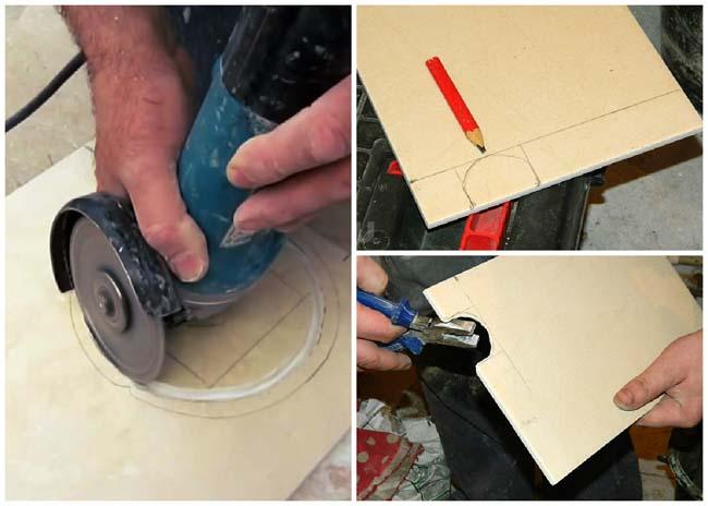 вырезаем болгаркой отверстие в плитке большого диаметра