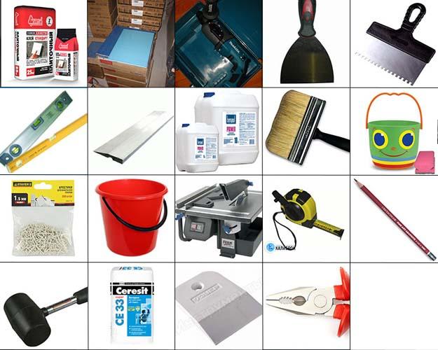 самые необходимые инструменты при укладке плитки на пол