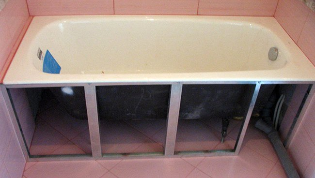 установка закладных профилей под ванну