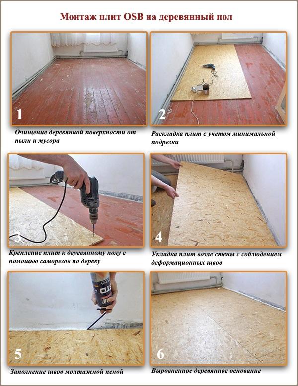пошаговая инструкция монтажа ОСБ на деревянный пол