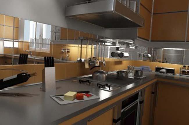 оригинально смотрится стеклянная плитка в виде фартука для кухни
