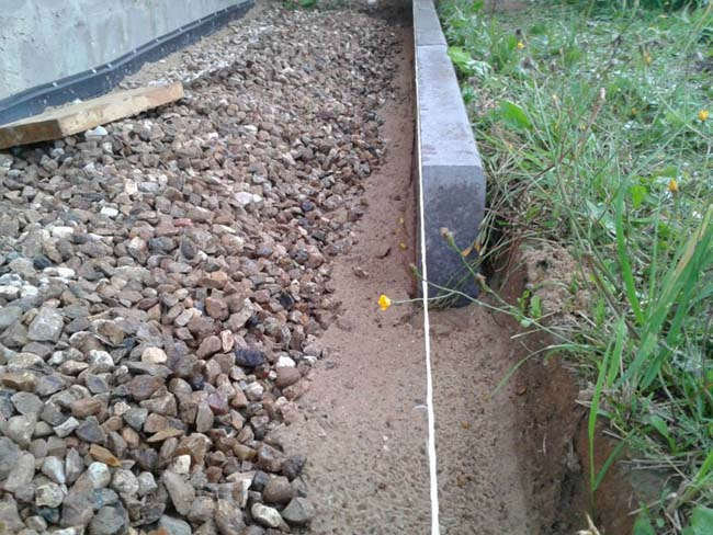 слой крупного щебня под отмостку для тротуарной плитки