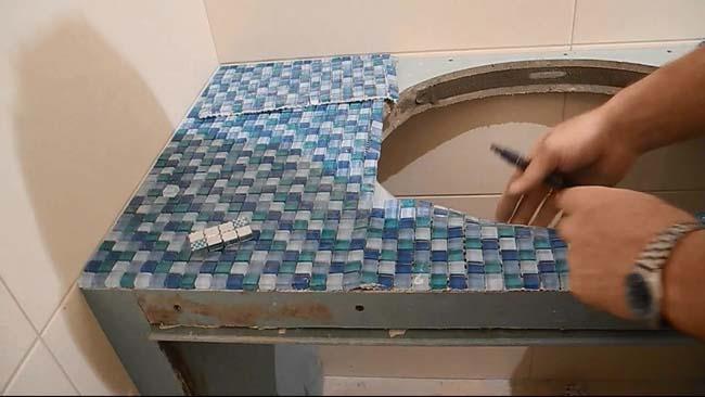 подготовка столешницы к укладке мозаики