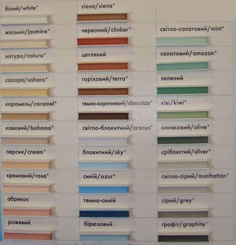 образцы затирки различных цветов