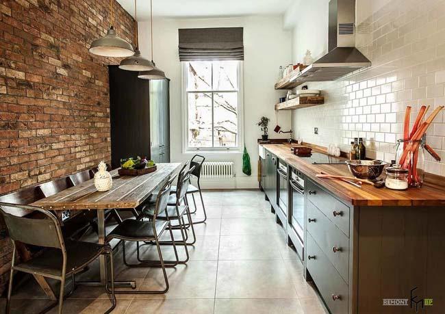 кирпич в интерьере кухни в стиле лофт