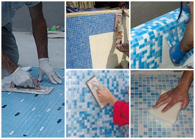 варианты укладки мозаики на различные клеевые составы