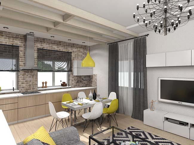 плитка кирпичиками украшает интерьер кухни в стиле Шале