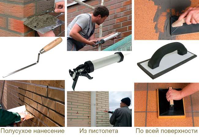 затирка швов после укладки клинкерной плитки на стену