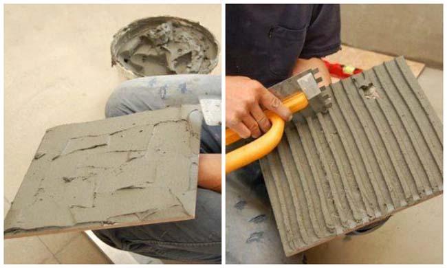 нанесение клея на керамогранитную плитку