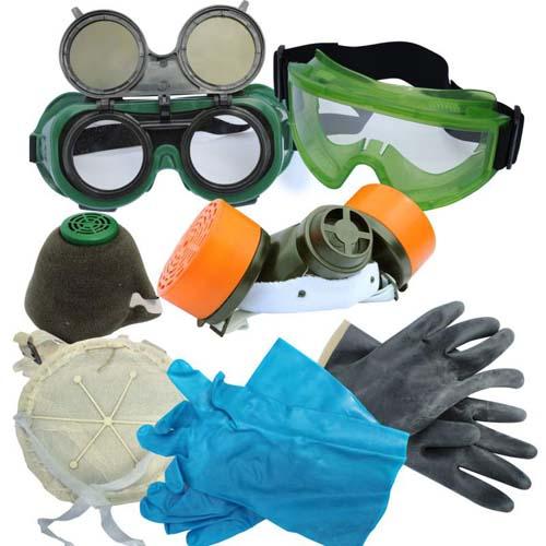 средства индивидуальной защиты очки, перчатки, респиратор
