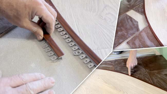 металлический профиль для соединение стыка ламината и плитки