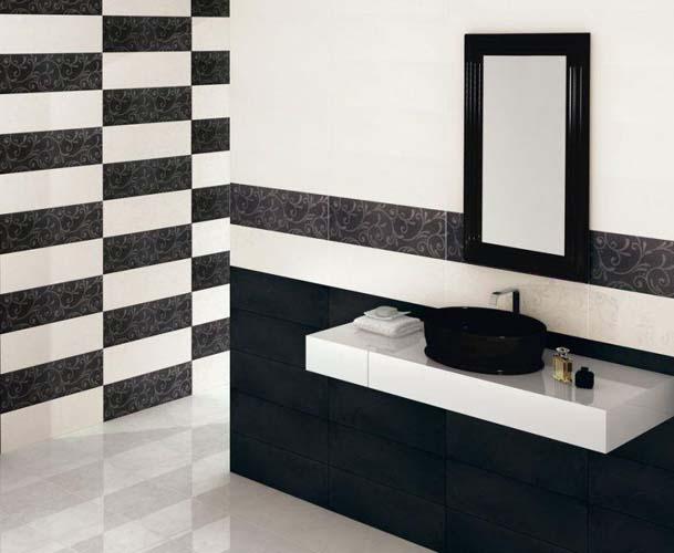 строгий интерьер из плитки в ванной