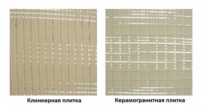 клинкерная и керамогранитная плитки с черновой стороны