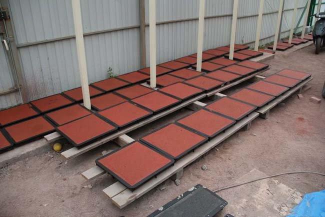 сушка бетонных плит перед укладкой в формах