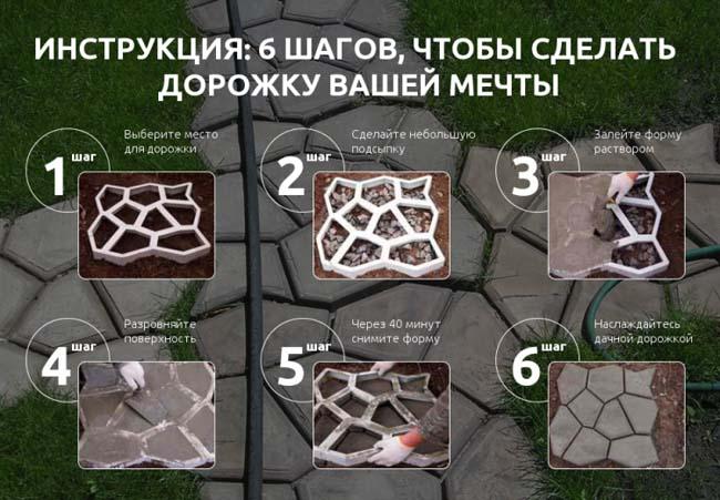 пошаговая инструкция заливки дорожки с помощью форм