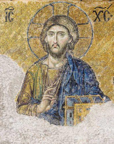 Лик Христа выложен мозаикой